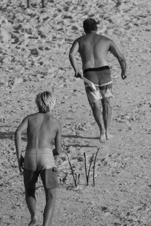 Beach cricket at Cabarita, New Years afternoon 2