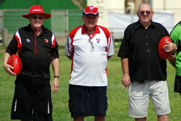 Dick Johnston (far right) at last year's ANZAC Friendship Match with fellow veterans, Ron Vernon (centre) and Stan Middleton.