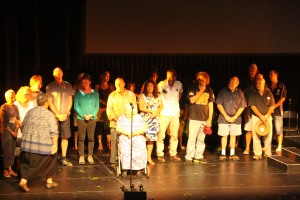 The families on stage at the Redland Bay Performing Arts Centre